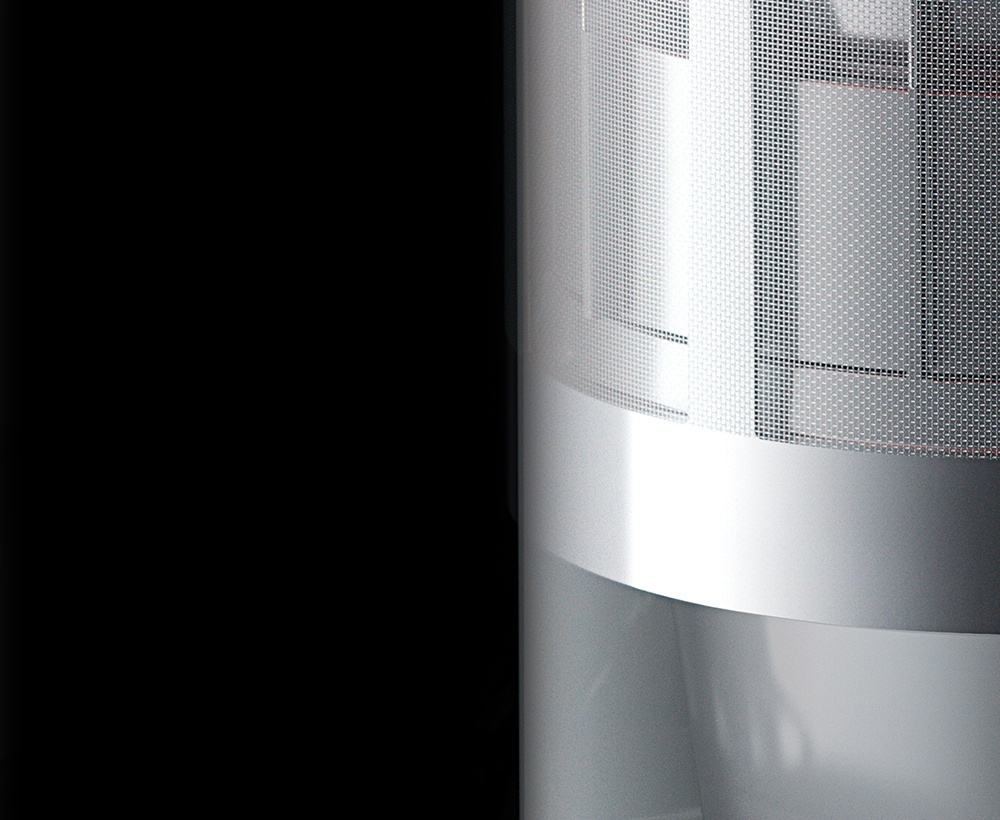Dyson Cinetic™ science, shown in three parts, with a close-up of a Dyson Cinetic™ tip separating dust.